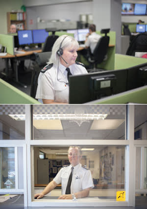 The G4S 'police'. G4S support staff Beth Pearce (taking calls) and David Blunkett (staffing reception) at Boston Police Station, Lincolnshire