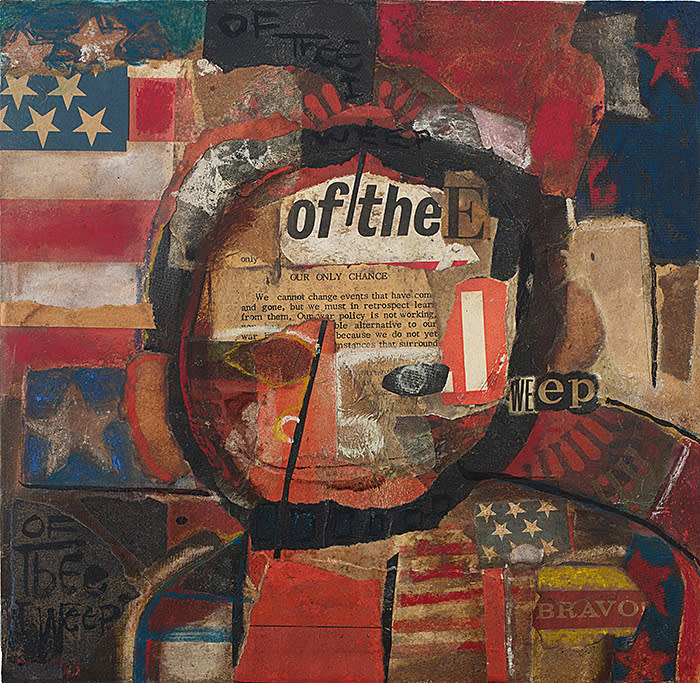 David Driskell Of Thee I Weep, 1968 Acrylic and collage on fiberboard 12 x 11 3/4 inches Courtesy DC Moore Gallery, New York