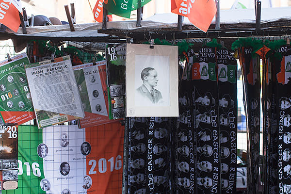 Memorabilia for sale in Dublin, including the text of the proclamation