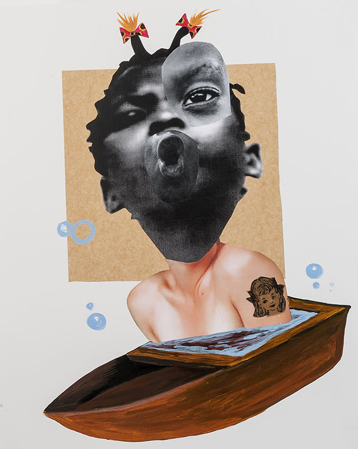 Deborah Roberts Miseducation of Mimi #153 2013-17Collage, mixed media on paper DR244 17 x 14 inches (Framed: 20 x 17 inches) Courtesy of the artist and Fort Gansevoort