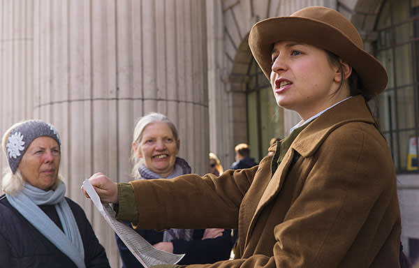 Actress Amy Flood reads the proclamation of the republic on the tour