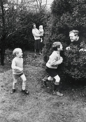 John le carré at home with his first wife Ann and their three sons, 1964