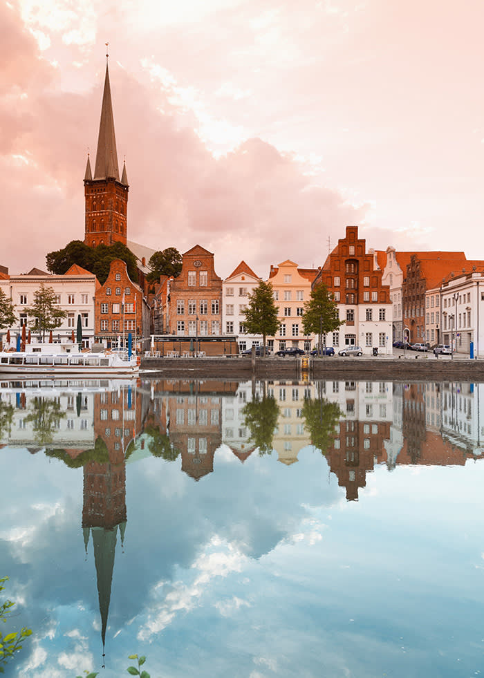 Germany, Schleswig Holstein, Lubeck, View of church in city