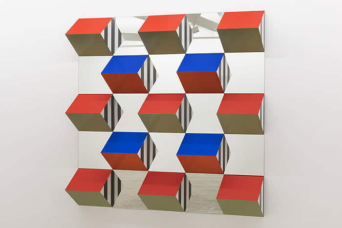 Galeria Nara Roesler - Art Basel Miami Beach - artist Daniel Buren Prisms and Mirrors, high reliefs, situated works 2016/2017 for São Paulo, 2017 wood, glue, lacquer, and vinyl adhesive 78.7 x 78.7 in