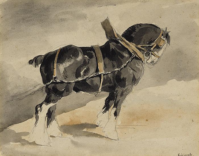 THÉODORE GÉRICAULT (Rouen 1791 - 1824 Paris) RECTO: A CART HORSE; VERSO: A PRELIMINARY STUDY FOR A CART HORSE Watercolor over pencil (recto); pencil (verso); 206 by 264 mm 80,000 USD - 120,000 USD (c) Sothebys