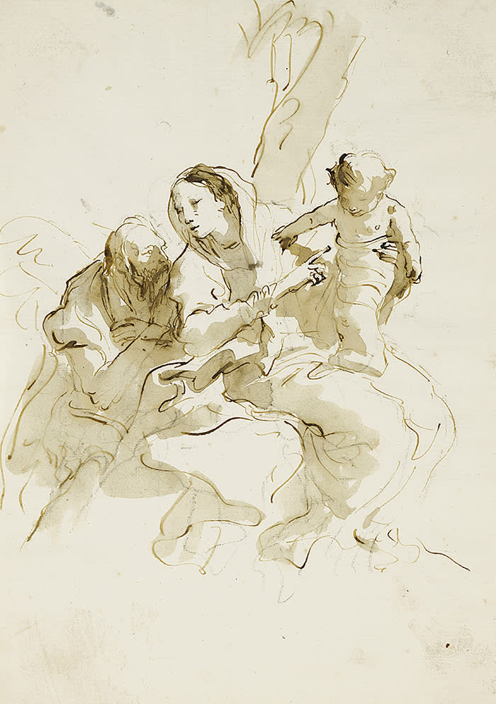 GIOVANNI BATTISTA TIEPOLO (Venice 1696 - 1770 Madrid) THE HOLY FAMILY Pen and brown ink and wash over black chalk 277 by 200 mm 100,000 USD - 150,000 USD (c) Sothebys