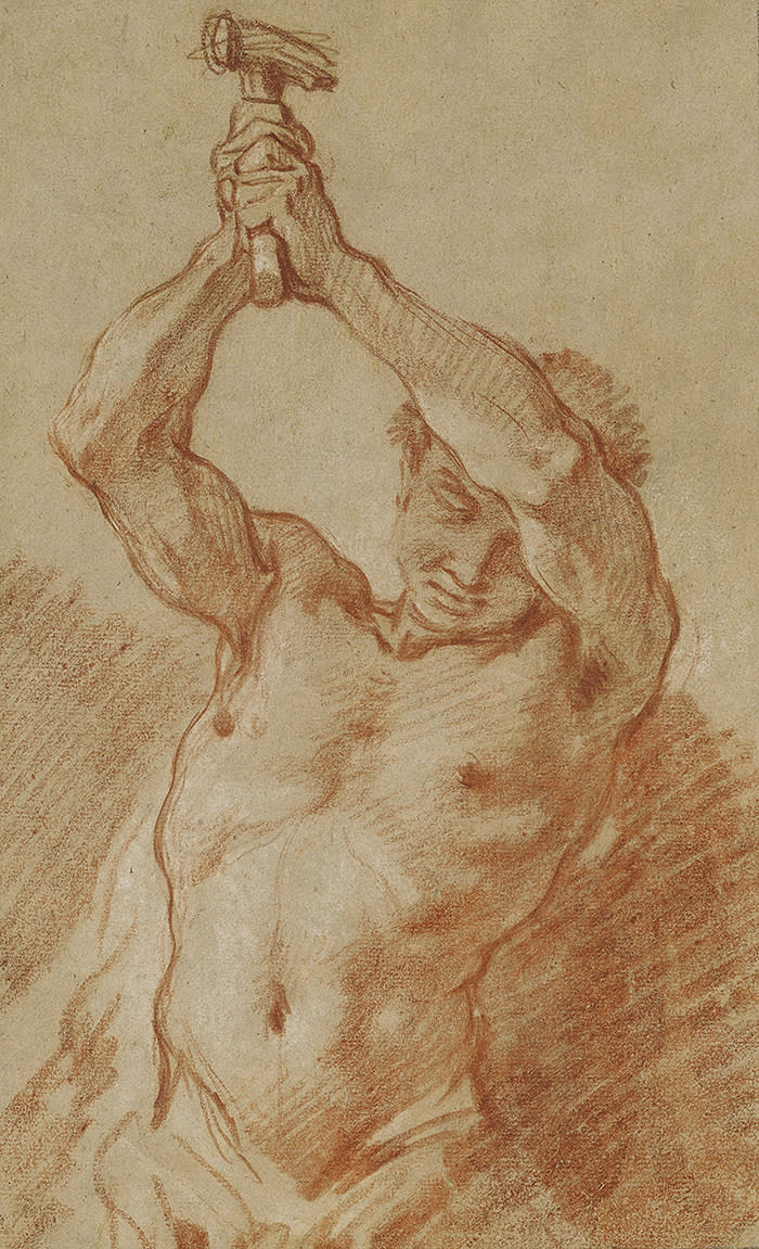 FRANÇOIS BOUCHER (Paris 1703 – 1770) STUDY OF A MAN RAISING A HAMMER Red chalk, heightened with white chalk 310 by 189 mm 60,000 USD - 80,000 USD (c) Sothebys