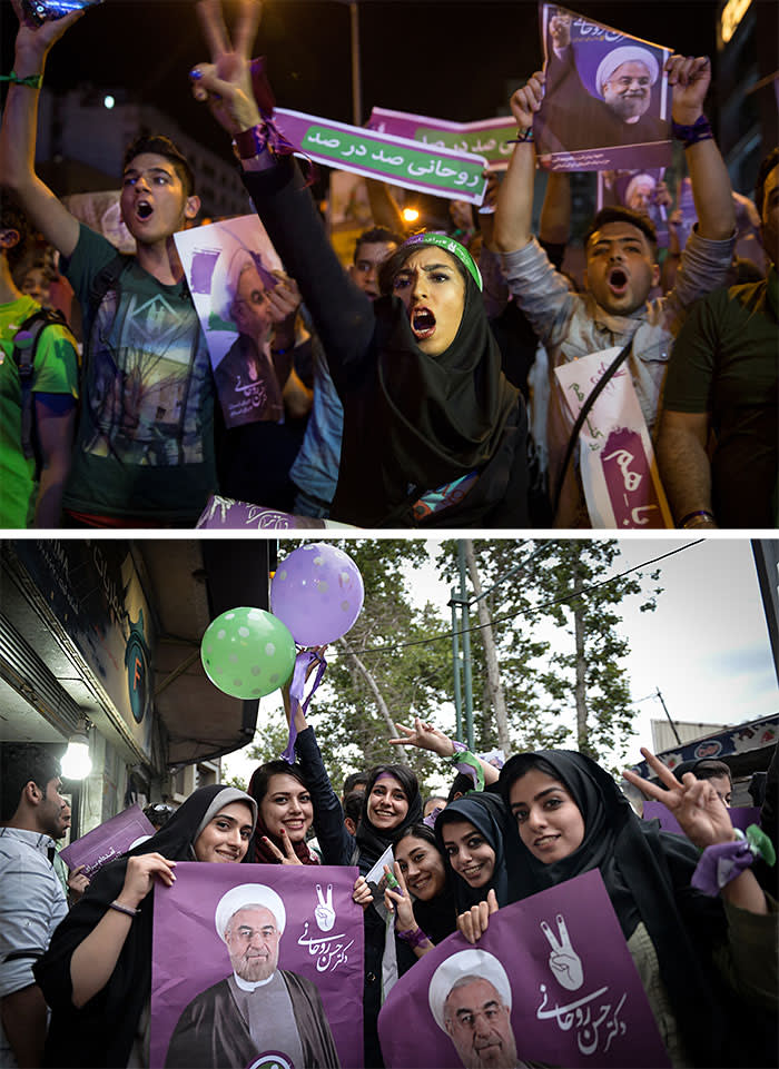 Women celebrate Hassan Rouhani's presidential election victory in May 2017, though his failure to appoint any female cabinet members later angered many