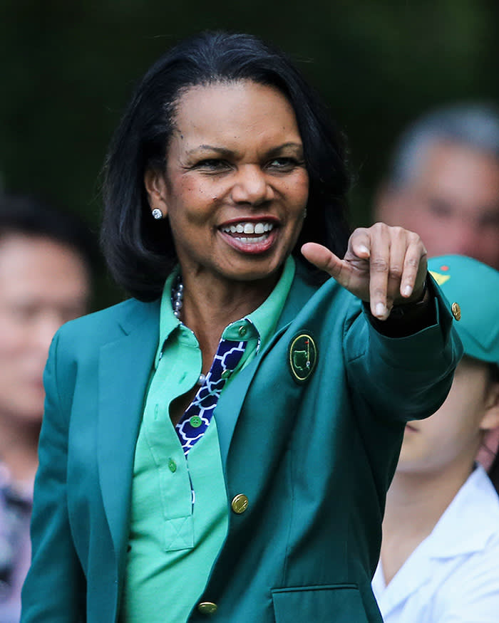 AUGUSTA, GA - APRIL 09: Condoleezza Rice, former Secretary of State and current Augusta National Member, attends the 2014 Par 3 Contest prior to the start of the 2014 Masters Tournament at Augusta National Golf Club on April 9, 2014 in Augusta, Georgia. (Photo by David Cannon/Getty Images)