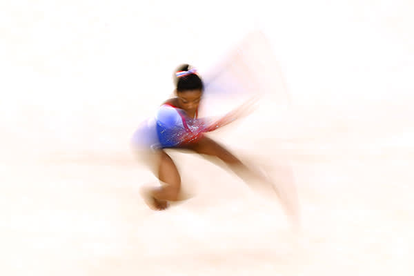 RIO DE JANEIRO, BRAZIL - AUGUST 16:  Simone Biles of the United States competes on the Women's Floor final on Day 11 of the Rio 2016 Olympic Games at the Rio Olympic Arena on August 16, 2016 in Rio de Janeiro, Brazil.  (Photo by Dean Mouhtaropoulos/Getty Images)