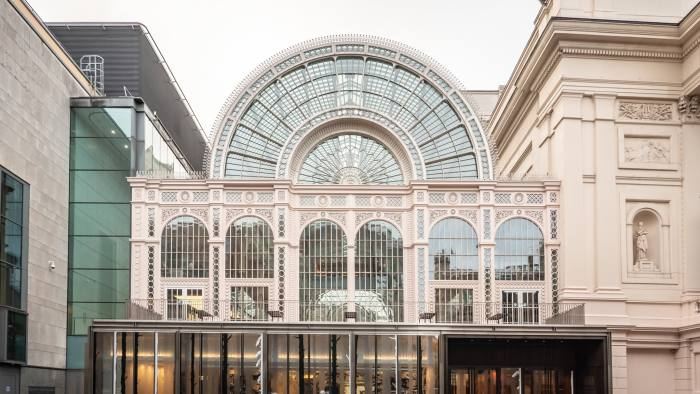 LONDON, UK - 3 DECEMBER 2018: The iconic facade to the Floral Hall, now known as the Paul Hamlyn Hall. The glass and iron building is adjacent, and part of, the main Royal Opera House in Covent Garden, London.