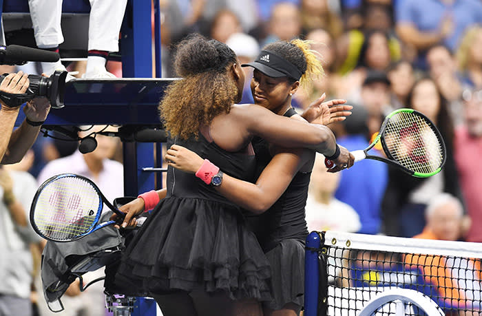 Osaka hugging Williams after beating her at the 2018 US Open. 'You know when Serena was Number One?' she says of the veteran champion. 'Basically, everyone knew that everyone else had no chance. I kind of want myself to be like that in the future'