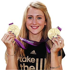 Laura Trott of Team GB poses with her gold medals