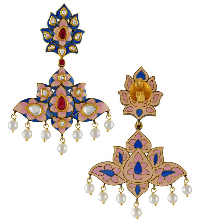 Amrapali's 18kt yellow gold, diamond, pearl and enamel earrings, £5,400, Amrapali, London SW3