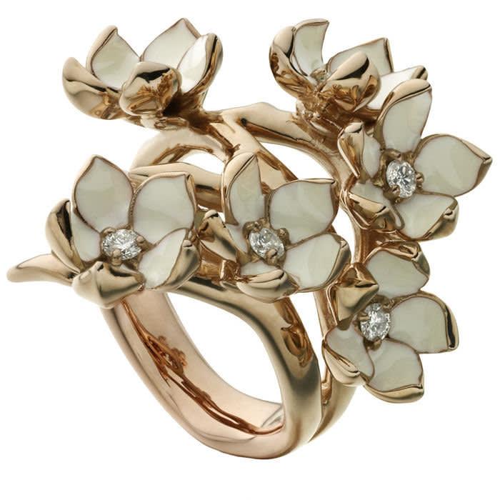 Shaun Leane's Gold vermeil, enamel and diamond 'Cherry Blossom' ring, £1,100, shaunleane.com