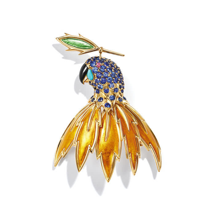Tiffany & Co's 18k gold parrot clip with paillonne enamel, and sapphires, £POA, ti‡ffany.co.uk