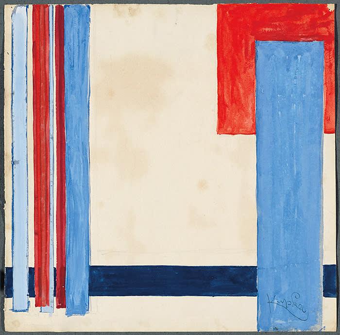 PLAN BLEU DANS LE ROUGE FRANTIŠEK KUPKA (Opočno, 1871 - Puteaux, 1957) Gouache on paper 29 x 29.5 cm (11.4 x 11.6 in.) Circa 1932 GALERIE LE MINOTAURE