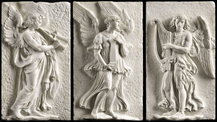 LAW 2019 TRINITY FINE ART Exhibition: Three Angels from the Reredos for Saint Paul's Cathedral, London Attilio Piccirilli (1866-1945) and Furio Piccirilli (1868-1949), after designs by Thomas Garner (1839-1906) and Jean Guillemin (1836-?) Three Angels from the Reredos for Saint Paul's Cathedral, London, 1886-87 Marble 73 cm high x 40 cm wide