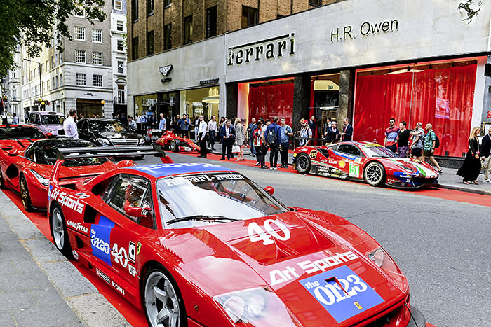 LONDON, ENGLAND - JULY 11: A general view of the opening of H.R. Owen's new Ferrari showroom on Berkeley Square on July 11, 2019 in London, England. (Photo by Mike Marsland/Getty Images for Ferrari North Europe)