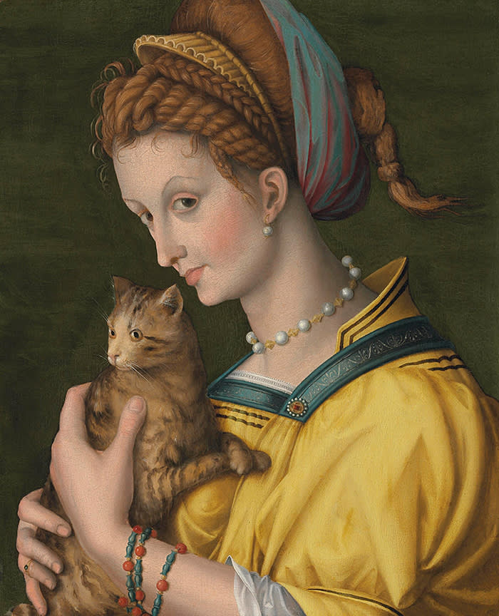 PORTRAIT OF A YOUNG LADY HOLDING A CAT ANTONIO D'UBERTINO VERDI, CALLED BACCHIACCA (1499 - Florence - 1572) Oil on poplar panel, possibly mixed with tempera 53.6 x 43.8 cm (21 x 17.2 in.) EXHIBITOR: NICHOLAS HALL