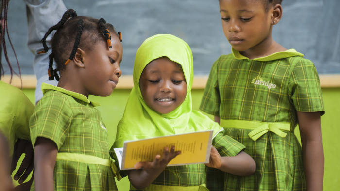 Pupils at Bridge International Academy in Lagos, Nigeria. Handout