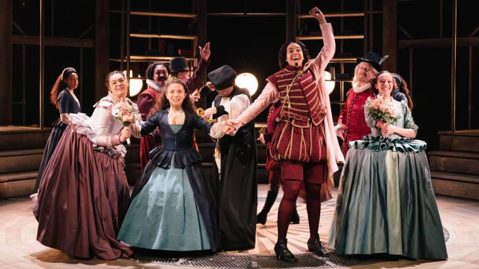 The cast of 'Emilia' at the Vaudeville Theatre