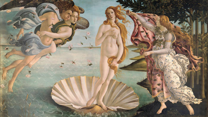 XIR412 The Birth of Venus, c.1485 (tempera on canvas) by Botticelli, Sandro (Alessandro di Mariano di Vanni Filipepi) (1444/5-1510); 172.5x278.5 cm; Galleria degli Uffizi, Florence, Tuscany, Italy; (add.info.: Venus Anadyomene, the goddess of love is born from the sea fully-grown and brought by nymphs to the Greek island of Cythereia); Italian, out of copyright.