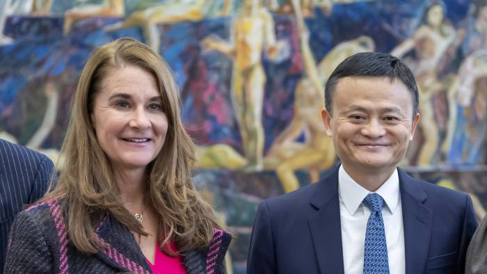 Jack Ma, (R), Executive Chairman of the Alibaba Group and Melinda Gates, (L), Co-Chair of the Bill and Melinda Gates Foundation, during the Meeting of the High-level Panel on Digital Cooperation at the European headquarters of the United Nations in Geneva, Switzerland, 21 January 2019. The panel aims to advance proposals to strengthen cooperation in the digital space among governments, the private sector, civil society, international organizations, academia, the technical community and other relevant stakeholders. EPA-EFE/MARTIAL TREZZINI