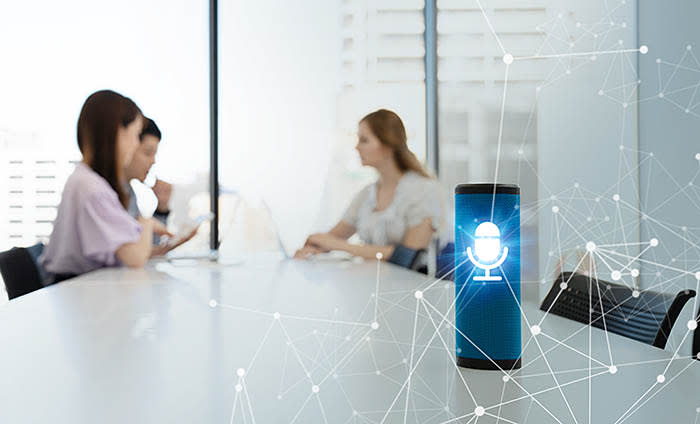 Smart speaker concept. AI speaker. Voice recognition.; Shutterstock ID 1135752308; Department: special reports; Job/Project: Business Education magazine -AC095 /AA322; Employee Name: Fran Andreae