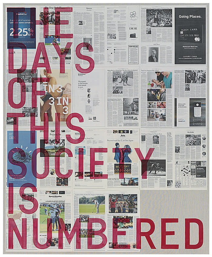 Rirkrit Tiravanija (b. 1961, Argentina)Untitled 2018 (the days of this society is numbered, new york times, june 18, 2018), 2018Oil and newspaper collage on canvas 89 1/2 x 73 1/2 inches