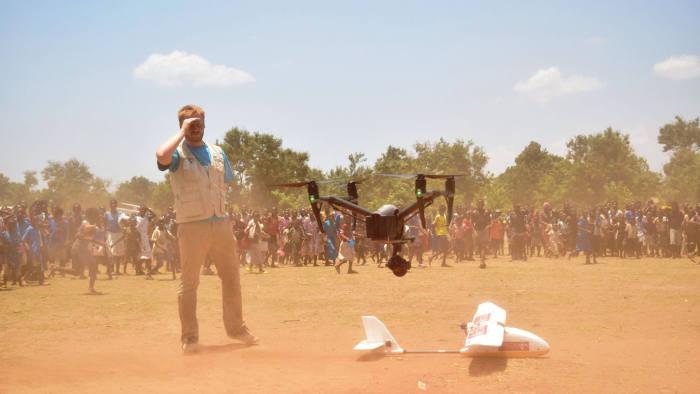 A drone landing after a surveillance mission.