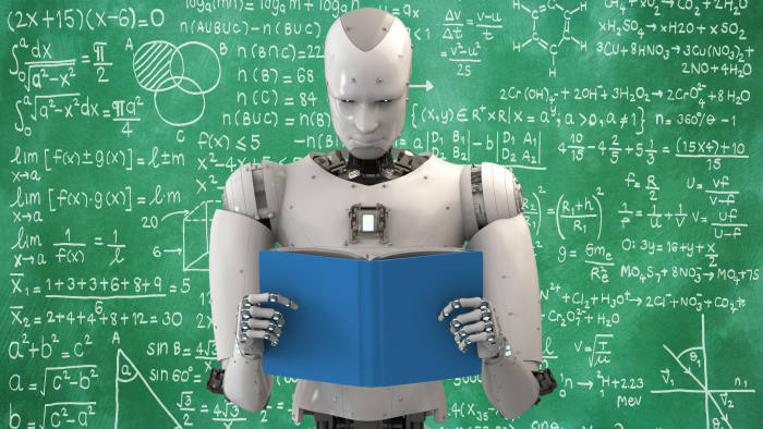 M03FD2 3d rendering humanoid robot reading a book