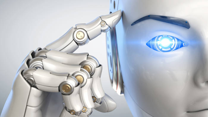 Robot holds a finger near the head. 3D illustration