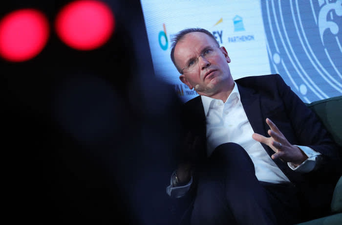 Markus Braun, chief executive officer of Wirecard AG, gestures while speaking at the Noah Technology Conference in Berlin, Germany, on Thursday, June 13, 2019. The annual tech conference runs June 13 -14 and brings together future-shaping executives and investors. Photographer: Krisztian Bocsi/Bloomberg