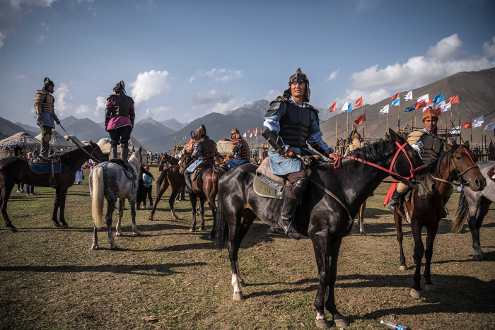 Performers at the opening ceremony of the World Nomad Games in Cholpon-ata, Kyrgyzstan, Sept. 3, 2018. More than two decades since the collapse of Soviet rule, Kyrgyzstan and its neighbors are still trying to define themselves; here, the emphasis on nomadic traditions casts the nation as part of a grander Turkic civilization. (Sergey Ponomarev/The New York Times) Credit: New York Times / Redux / eyevine For further information please contact eyevine tel: +44 (0) 20 8709 8709 e-mail: info@eyevine.com www.eyevine.com