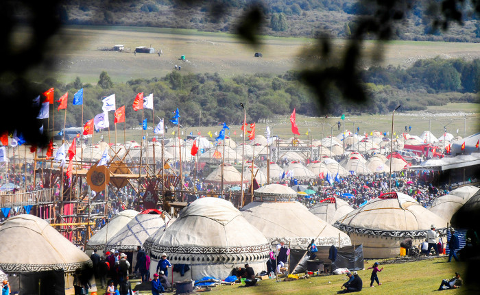 ISSYK-KUL REGION, KYRGYZSTAN - SEPTEMBER 3, 2018: A view of the 2018 World Nomad Games, held at Kyrchyn Gorge in the Issyk-Kul Region, Kyrgyzstan, every two years and including 37 ethnic sporting events, such as horse riding, national wrestling, martial arts, traditional mind games, archery, hunting, etc. Viktor Drachev/TASS (Photo by Viktor Drachev\TASS via Getty Images)