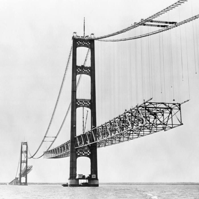 The Mackinac Bridge, symbol of the Great Lakes state, opened in 1957