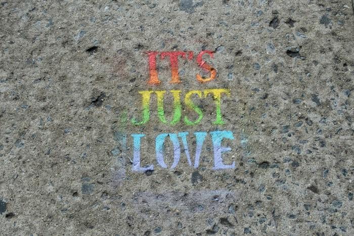 Stencil grafitti on sidewalk