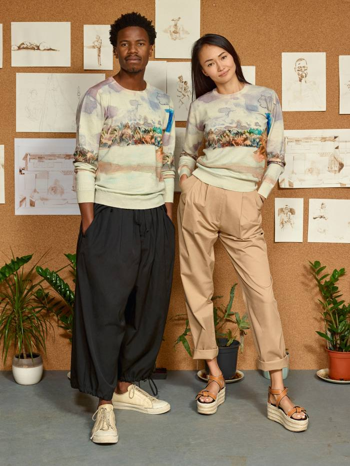 Kiziwani sweaters by Stella Jean and Michael Armitage for ArtColLab, 2020