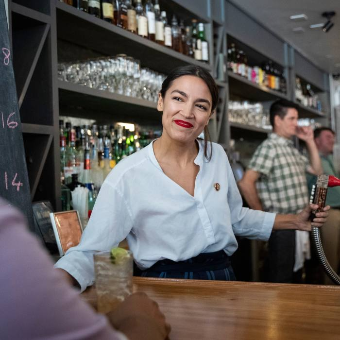 """At the Queensboro, NY: @WYNC """"Critics often tell the AOC to go back to bartending. So she did, to draw attention to legislation about the minimum wage."""" May 31 2019"""