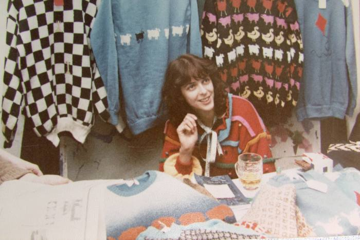 Sally Muir on her market stall in 1979