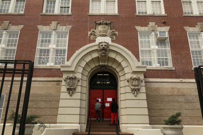 A closed school in Brooklyn, New York, in April