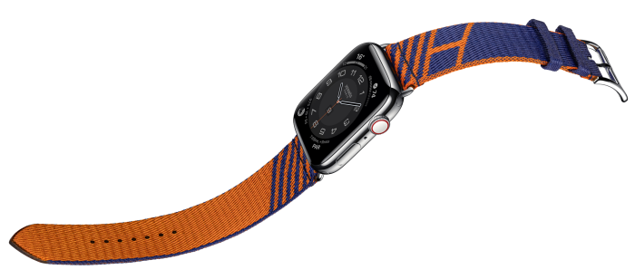 Hermès Apple Watch Series 6, from £1,179; with Hermès Single Tour Jumping strap, £319
