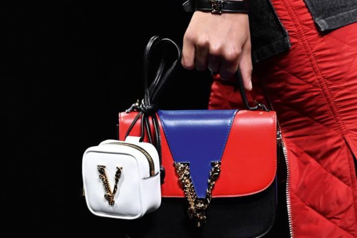 Versace bag, £1,410, and micro bag, £410