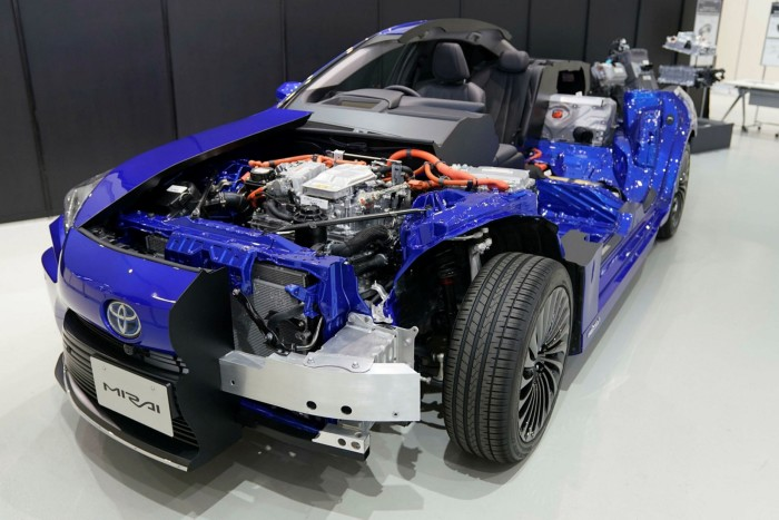 A model of the Toyota Mirai fuel cell electric vehicle at the company's showroom in Tokyo. Steel is used in everything from electric vehicles to building infrastructure but is also one of the world's most polluting industries