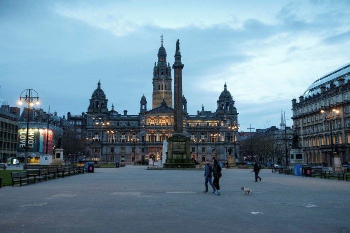 George Square in Glasgow, Scotland on March 24