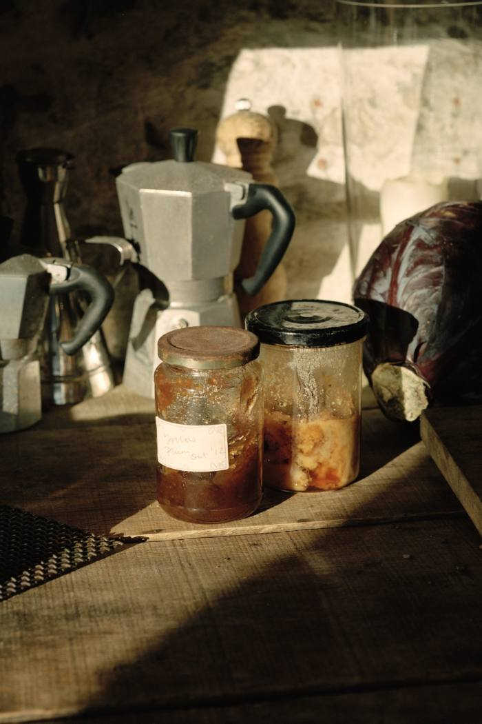 Home-made jam and local honey in the outside kitchen