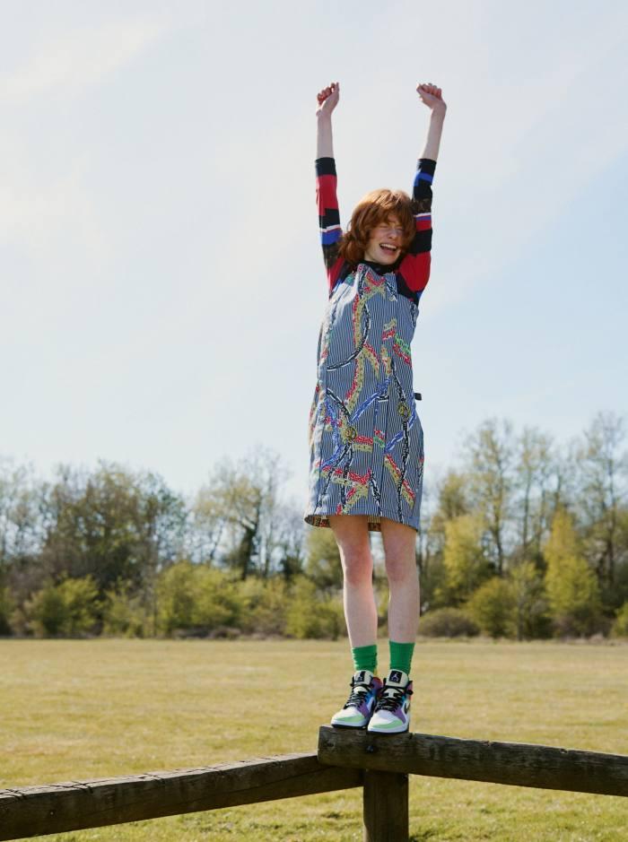 Edwina wears Louis Vuitton jersey body, £1,000, and gabardine dress, £2,510. Aries/Arise cotton socks, £23. Nike vintage shoes, Edwina's own