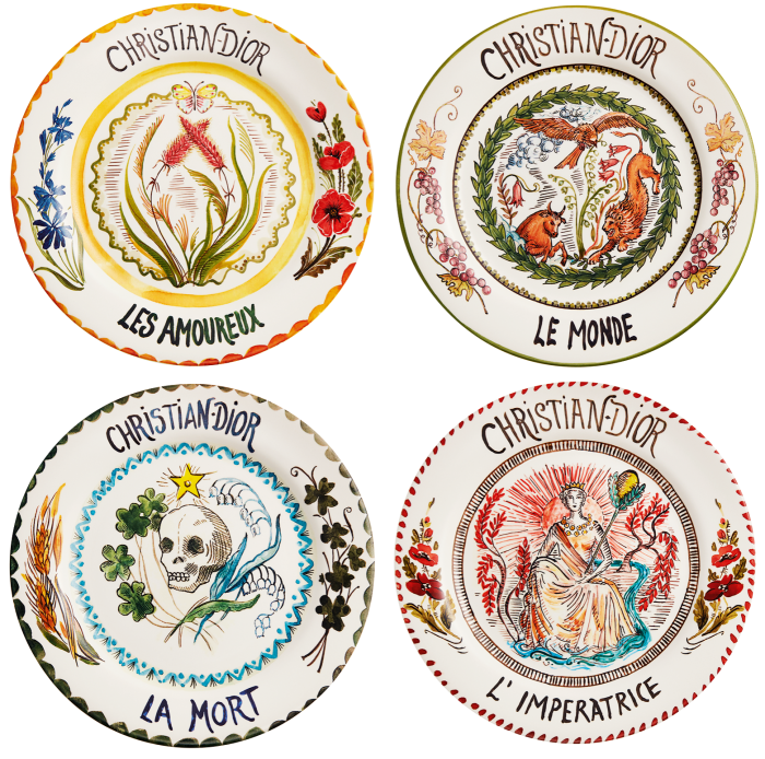 Dior Maison's tarot dinner plates (£650 for four) refer to Christian Dior's practice of having his cards read before each show