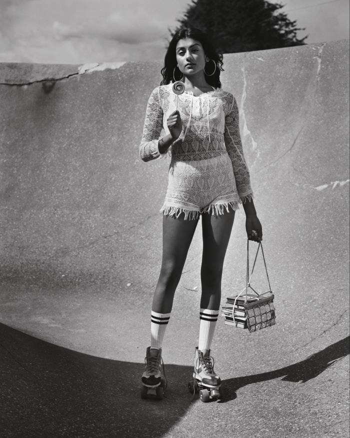 Dior lace/mesh stitch playsuit, £8,700, cotton bralette, £650, and briefs, £670. Vintage gold chainmail clutch and vintage gold hoop earrings, both POA, from Contemporary Wardrobe. Paco Rabanne 1960s vintage metal and Lurex bag, POA, from Academy Costumes. Vintage cotton sport socks and cotton/Lycra rollerskates, both POA, from Costume Studio. Hair, Cyndia Harvey at ArtPartner. Make-up, Lynsey Alexander at Streeters. Manicure, Pebbles Aikens at the Wall Group. Props stylist, Julia Dias at The Wall Group. Photographer's assistants, LexKembery and Simon Mackinlay. Stylist's assistants, Natasha Arnold and Shaun Kong. Hair stylist's assistant, Emilie Bromley. Make-up assistant, Phoebe Brown